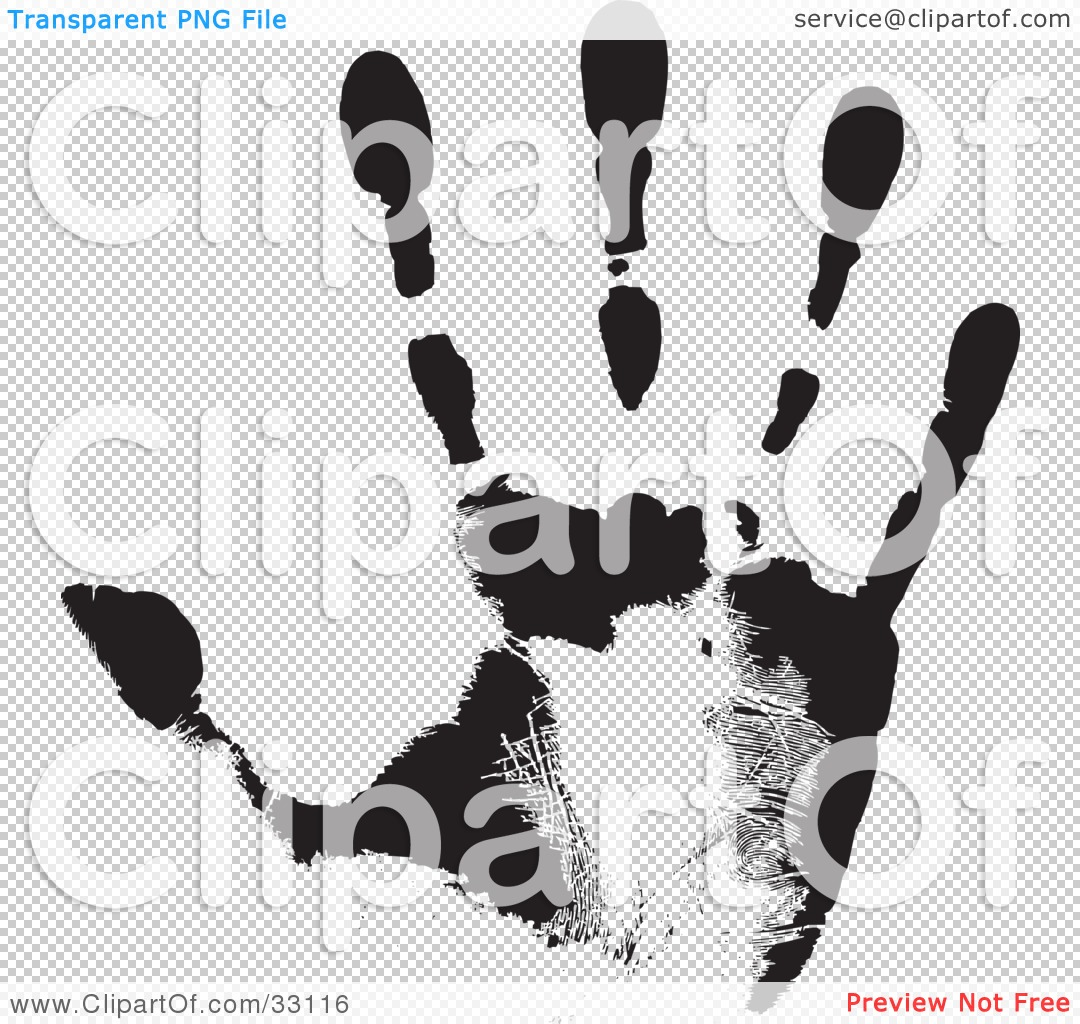 Clipart Illustration of a Black Hand Print Showing The Skin ...