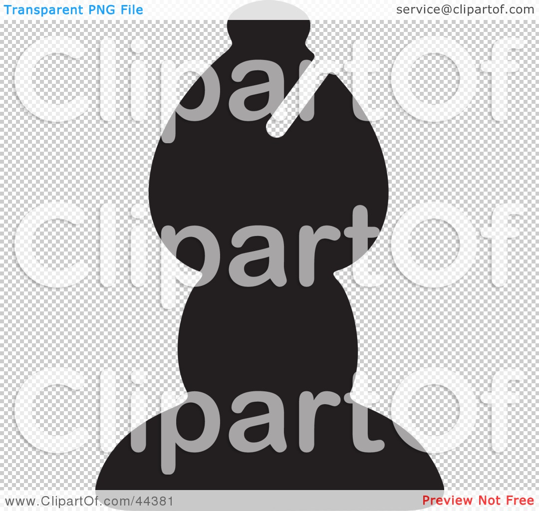 Clipart Illustration of a Black Silhouette Of A Bishop Chess Piece ...