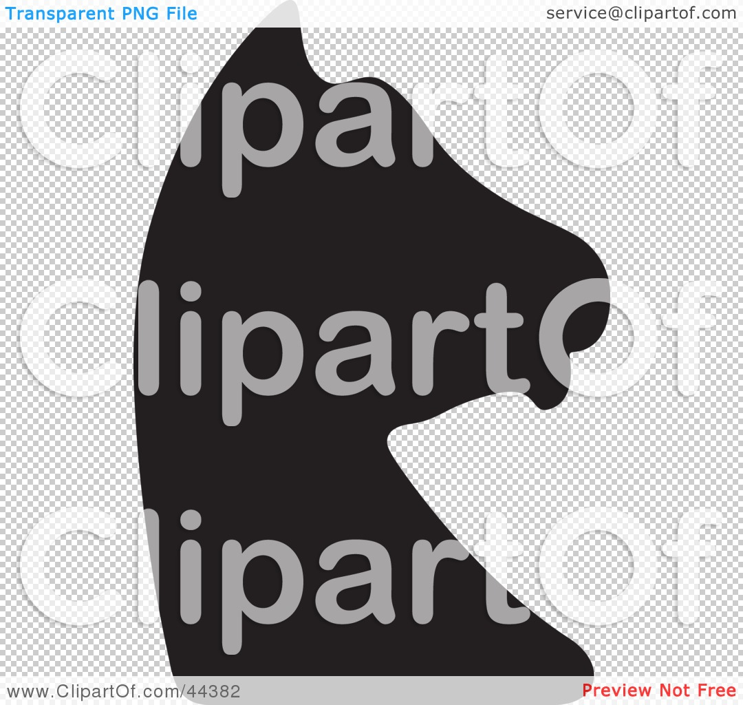 Clipart Illustration of a Black Silhouette Of A Knight Chess Piece ...