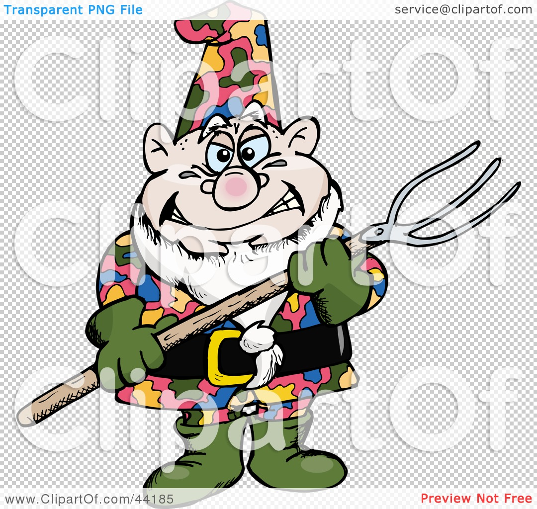 Clipart illustration of a chubby garden gnome holding a for Garden gnome tattoo designs