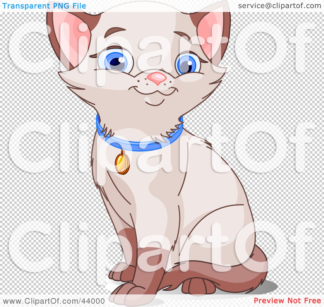 Clipart Illustration of a Cute Siamese Kitten With Blue Eyes