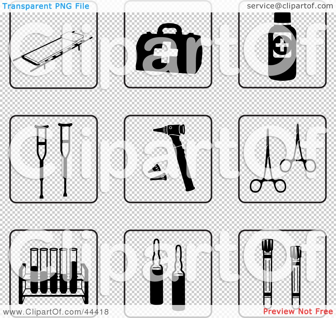 Clipart Illustration of a Digital Collage Of Black And White First Aid    First Aid Clipart Black And White