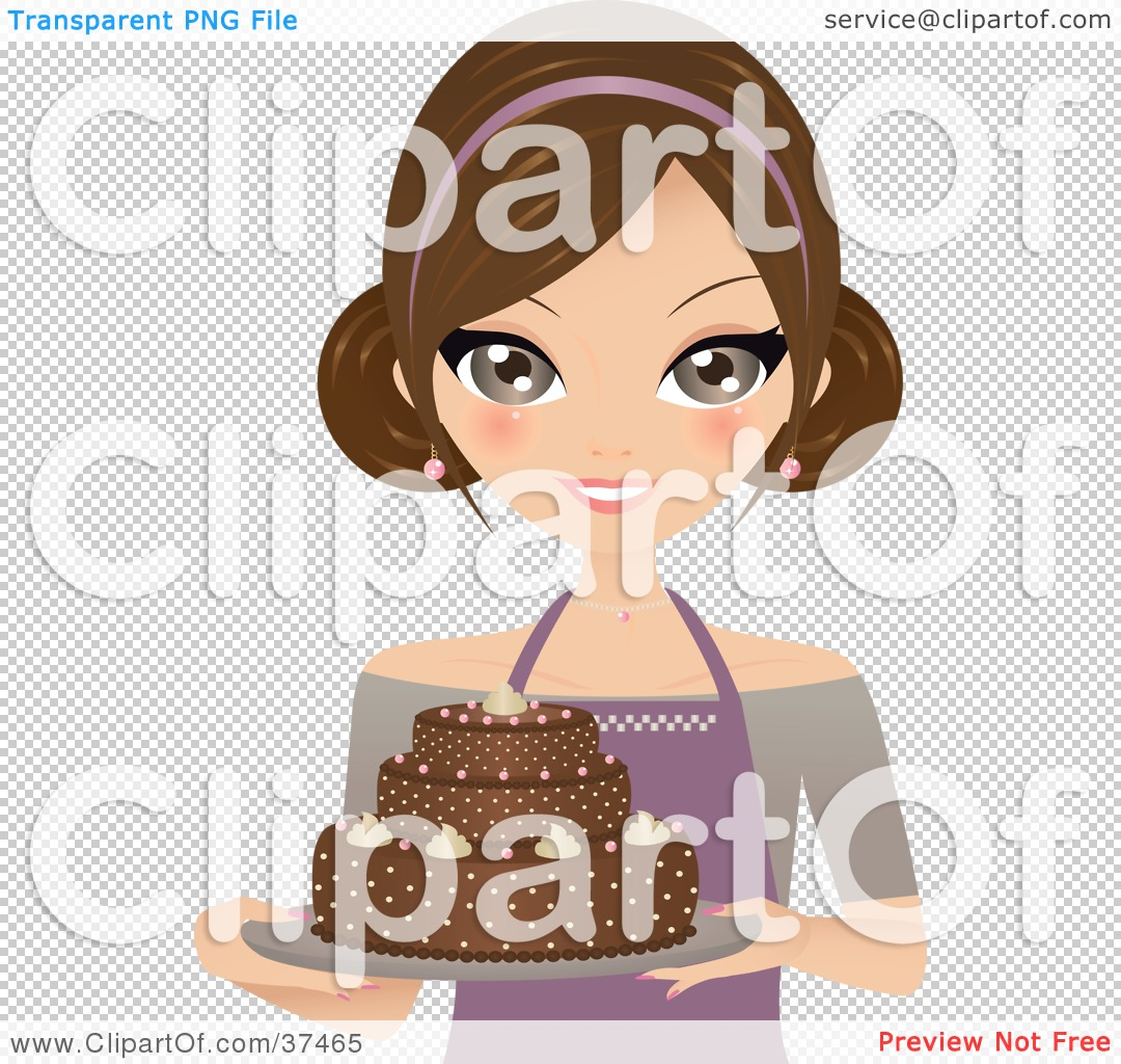 Clipart Illustration Of A Pretty Female Cake Baker Presenting A