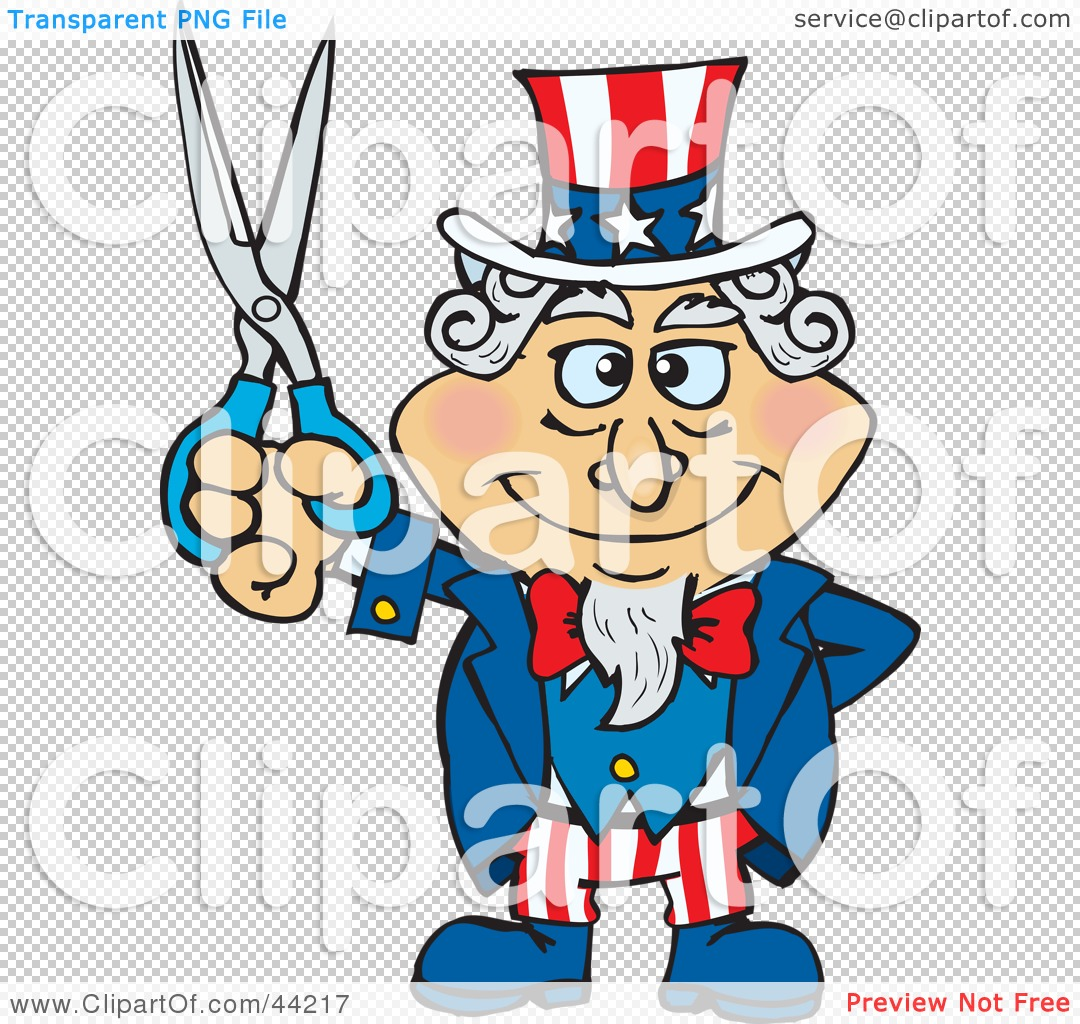 Clipart Illustration of an American Uncle Sam Holding Scissors by ...