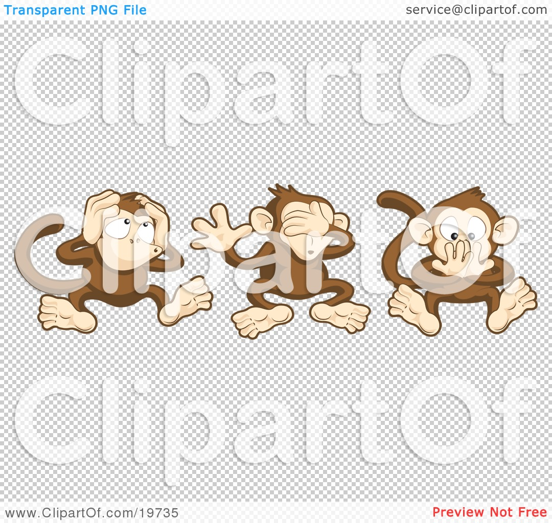Clipart Illustration Of The Three Wise Monkeys, Mizaru, Kikazaru ...