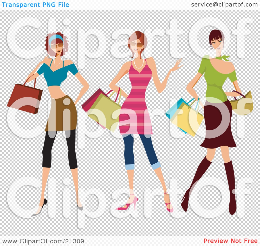 ... Clothes, Carrying Shopping Bags And Purses And Shopping At The Mall