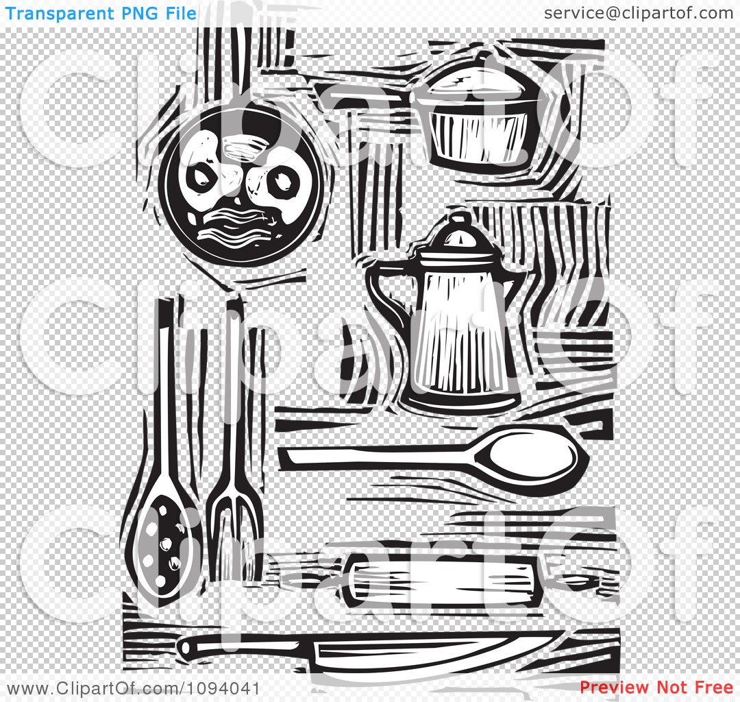 Clipart Kitchen Items And Food Black And White Woodcuts - Royalty ...