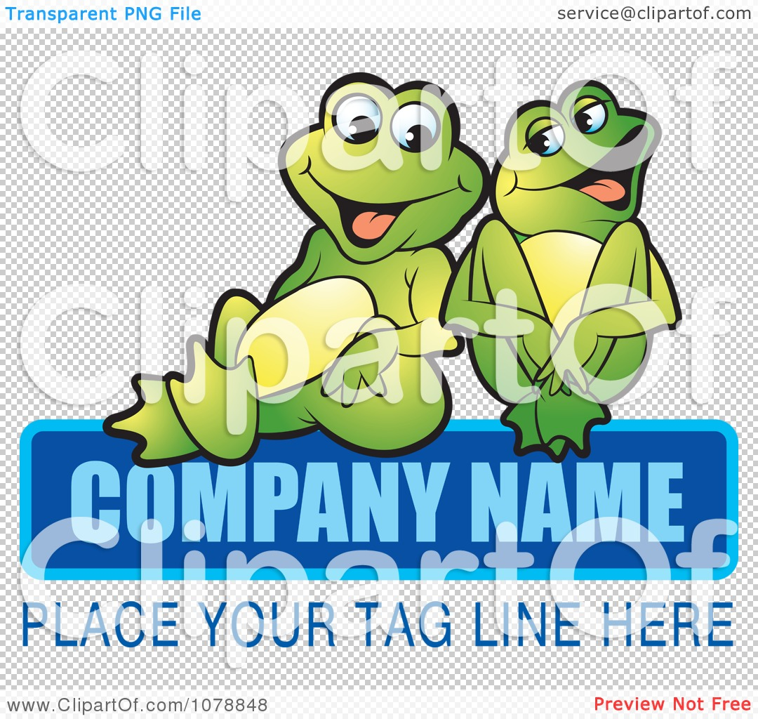 Clipart Laughing Frogs And Sample Text Logo - Royalty Free Vector ...