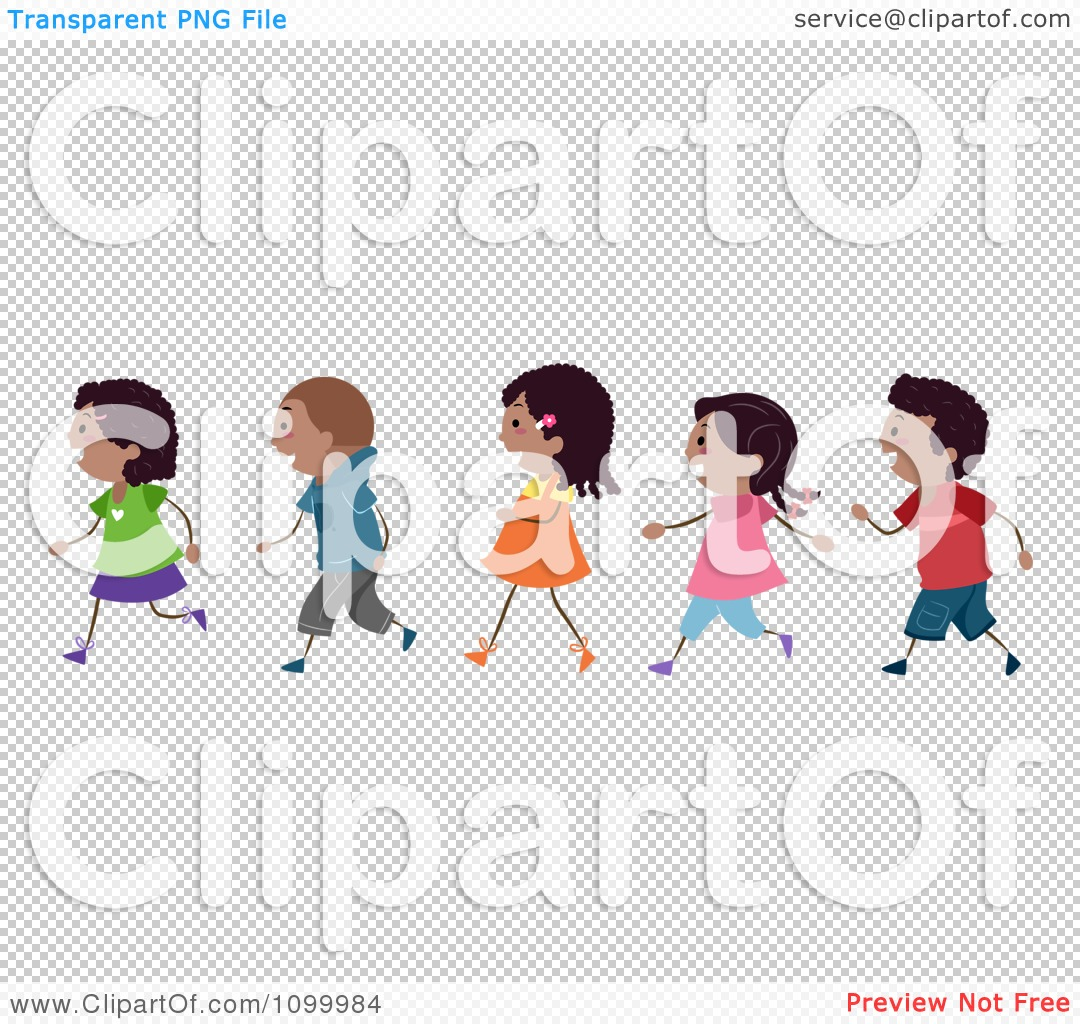 Clipart Line Of African American Children Walking - Royalty Free ...