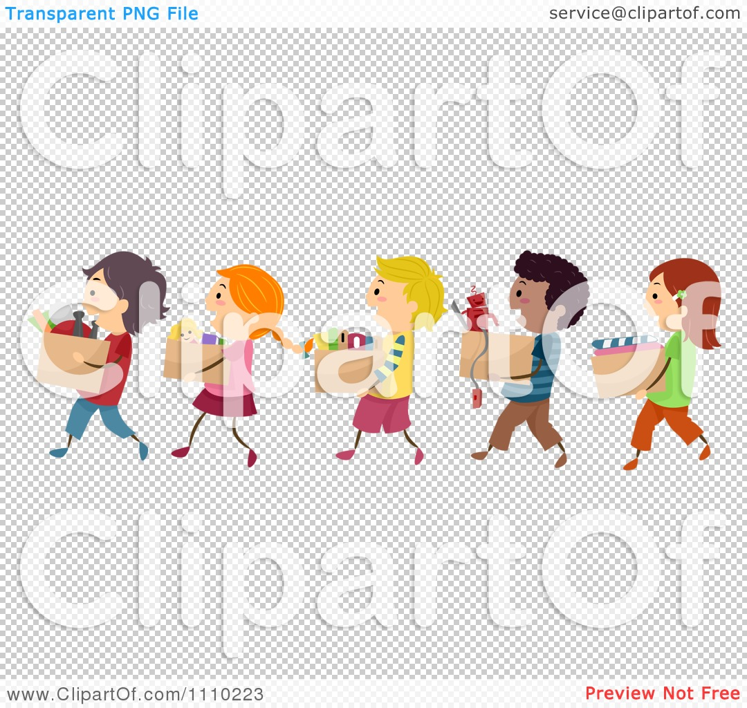Clipart Line Of Diverse Happy Kids Carrying Boxes Of Books ...