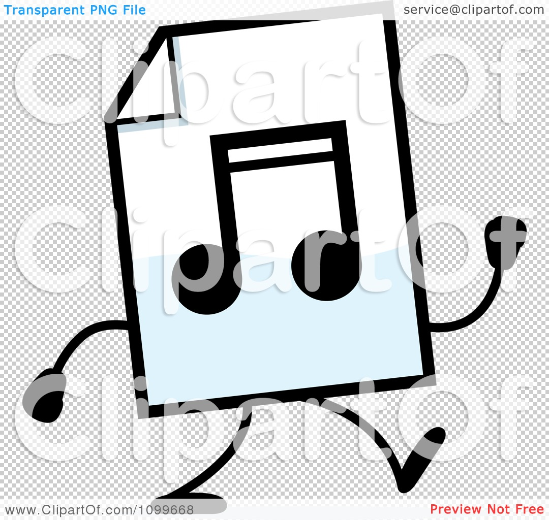 Clipart MP3 Music Document Mascot Walking - Royalty Free Vector ...