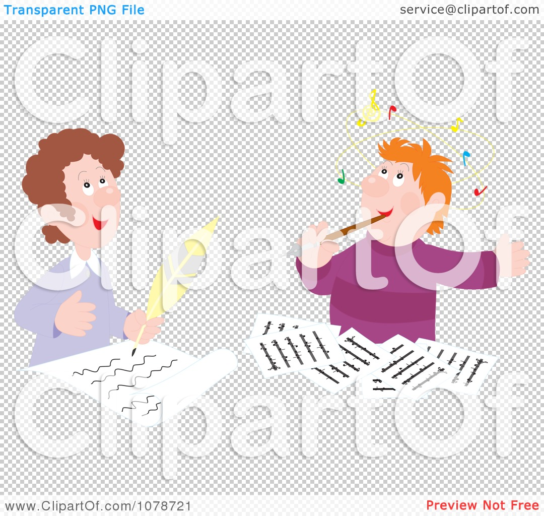 Clipart Male Authors And Composers Writing - Royalty Free Vector ...