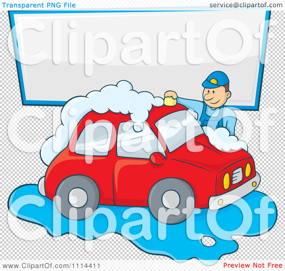 Clipart Man Washing A Red Car Under A Sign - Royalty Free Vector ...