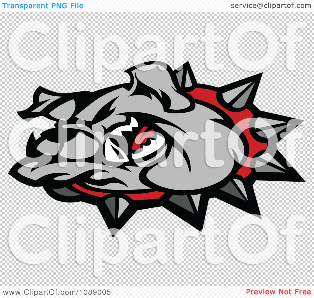Clipart Mean Gray Bulldog Mascot Head - Royalty Free Vector ...