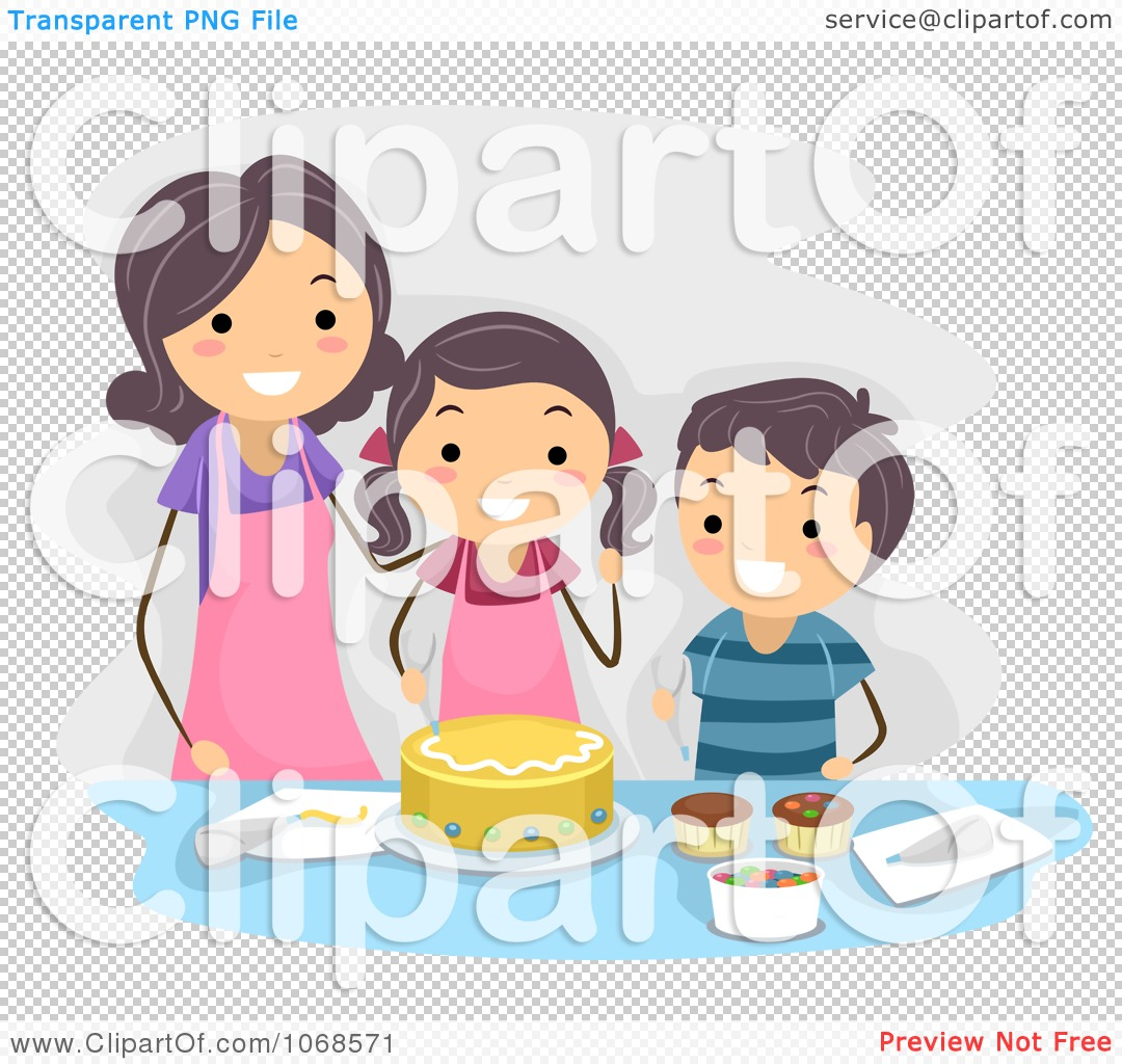 Clipart Mom And Kids Making A Cake - Royalty Free Vector ...