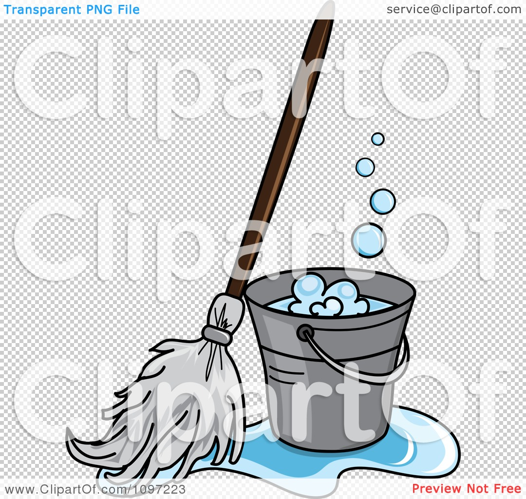 clipart mop in a puddle resting against a cleaning bucket