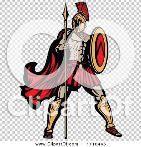 Clipart Muscular Spartan Warrior With A Spear And Shield - Royalty ...
