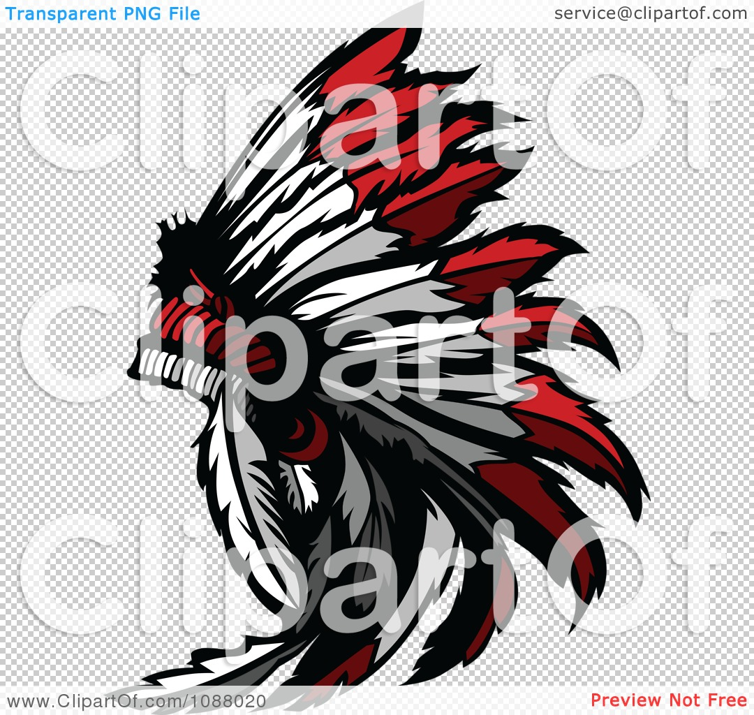 Clipart Native American Indian Chief Feather Headdress - Royalty ...