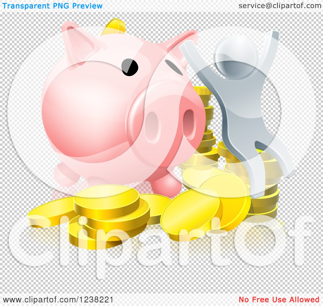 Cheering Silver Man with Coins and a Giant Piggy Bank - Royalty Free