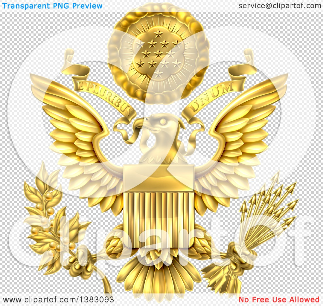 clipart of a 3d gold great seal of the united states with