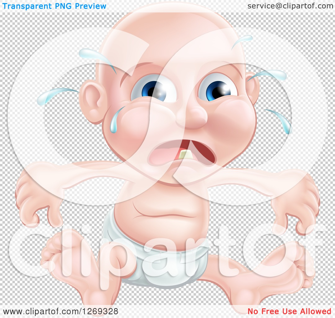 Clipart of a Bald Blue Eyed Caucasian Baby Boy Sitting in a Diaper ...