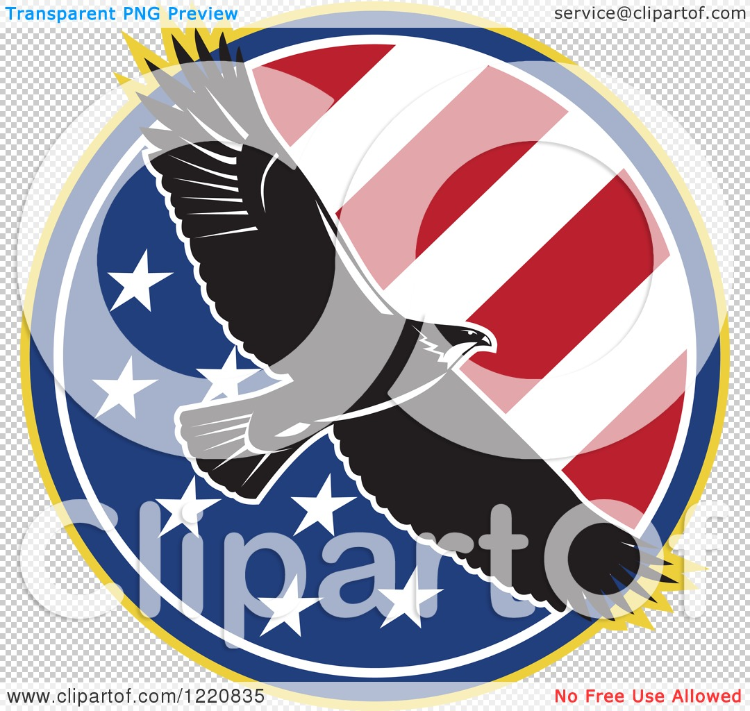Flying Bald Eagle with American Flag