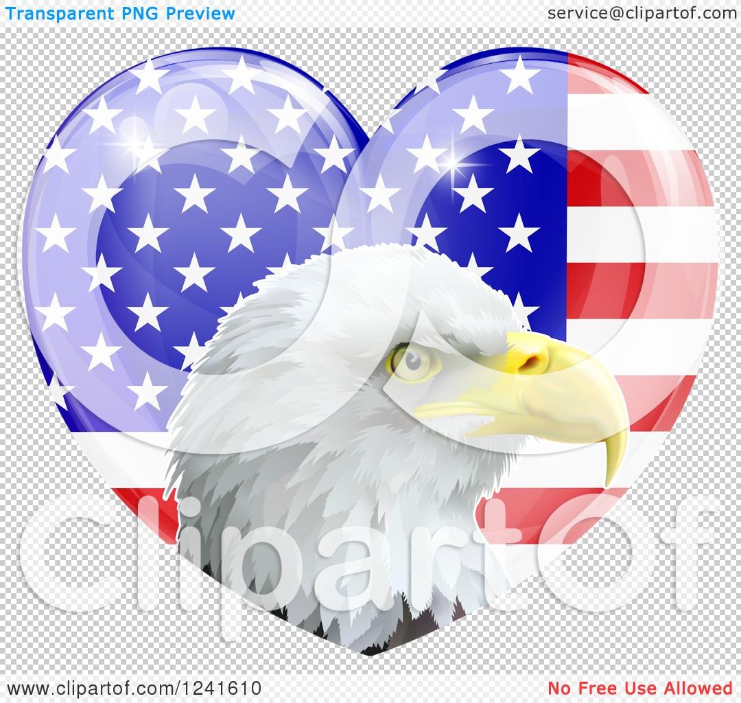 Clipart of a Bald Eagle Head over a Shiny American Flag Heart ...