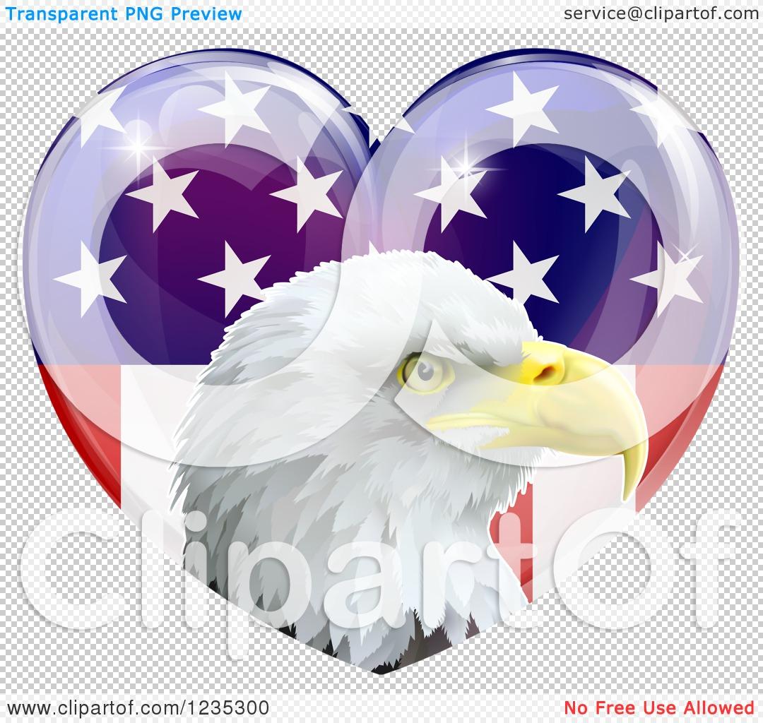 Clipart of a Bald Eagle Head over an American Flag Heart - Royalty ...