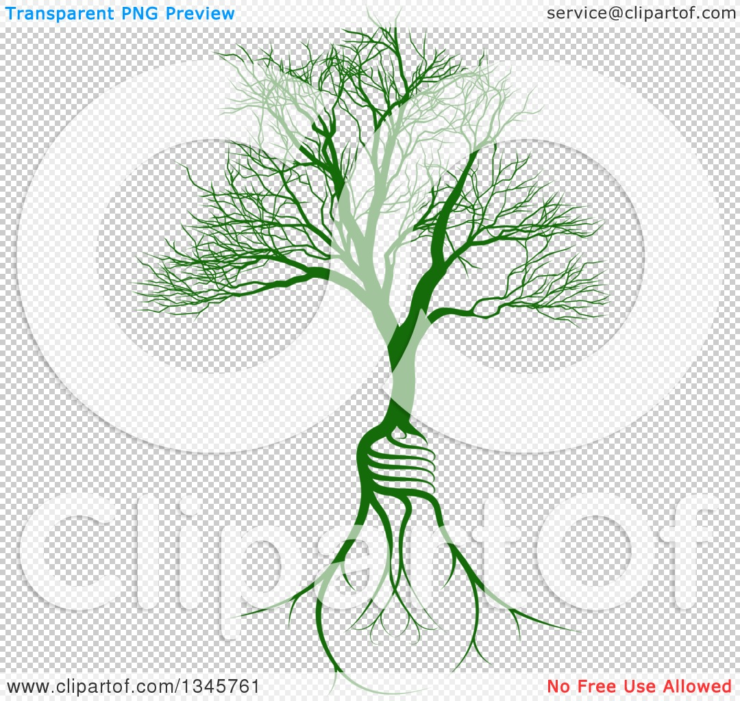 Clipart of a Bare Tree with Light Bulb Shaped Roots - Royalty Free ...