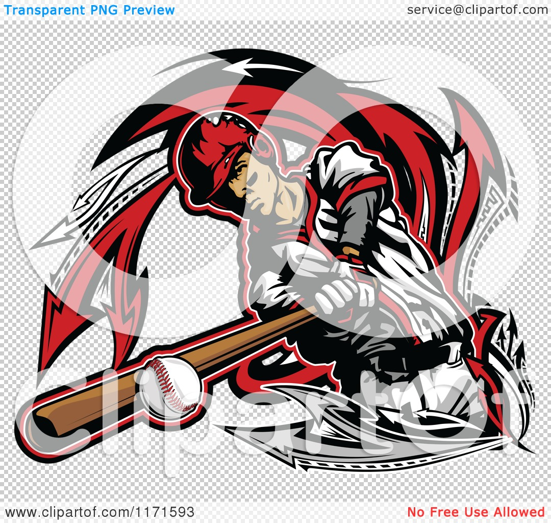 clipart of a baseball player hitting a ball with a bat over arrows