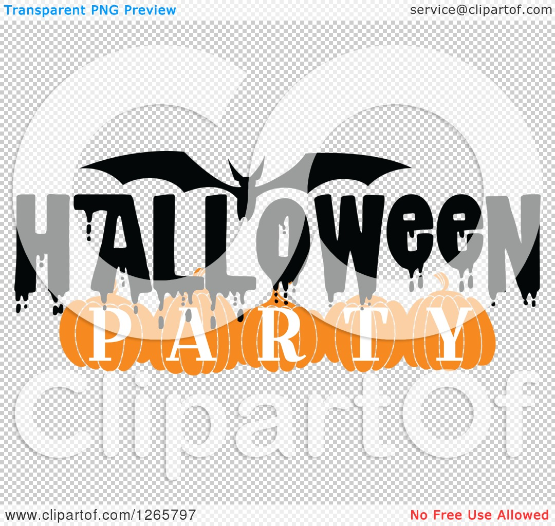 Clipart of a Bat and Halloween Party Text - Royalty Free Vector ...