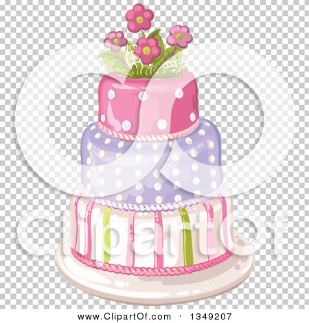 Clipart of a Beautiful Three Tiered Striped and Polka Dot Birthday