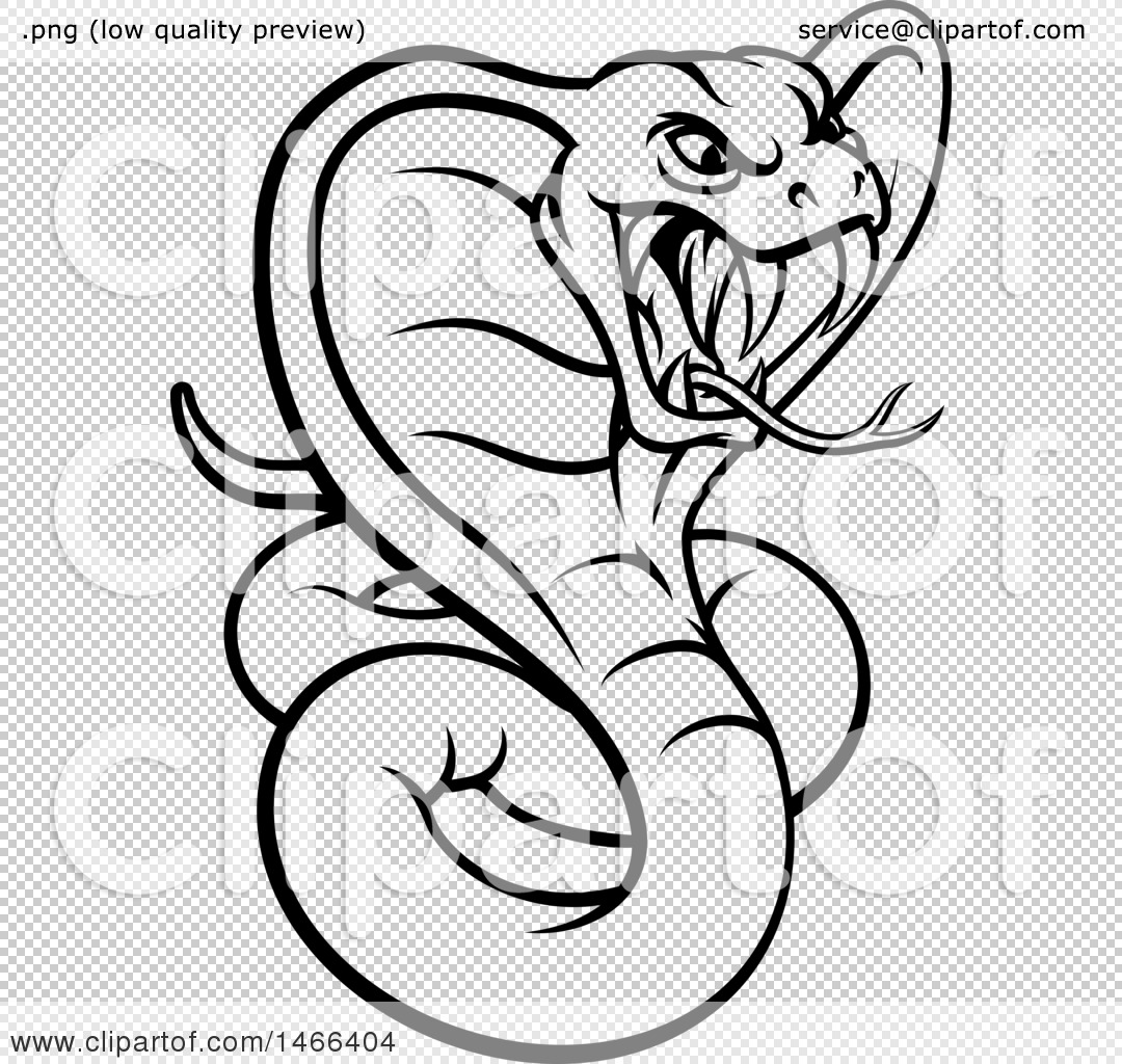 Clipart of a Black and White Angry Green King Cobra Snake ...