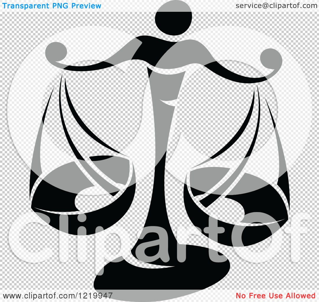Clipart of a Black and White Astrology Libra Scales Zodiac Star ...