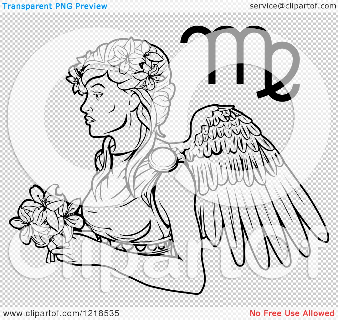 Clipart of a black and white astrology zodiac virgo virgin and png file has a buycottarizona Gallery