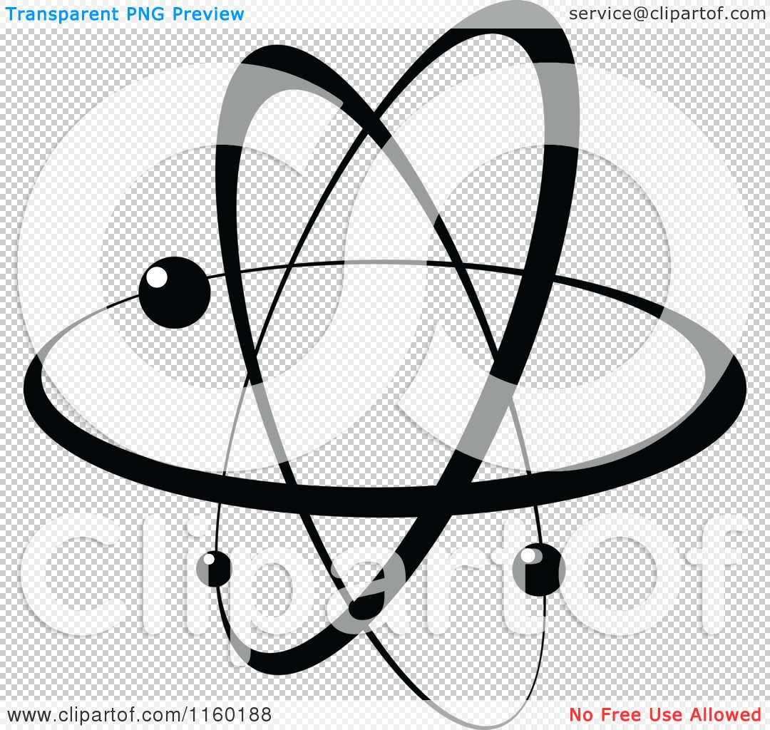 Clipart of a Black and White Atom 2 - Royalty Free Vector ...