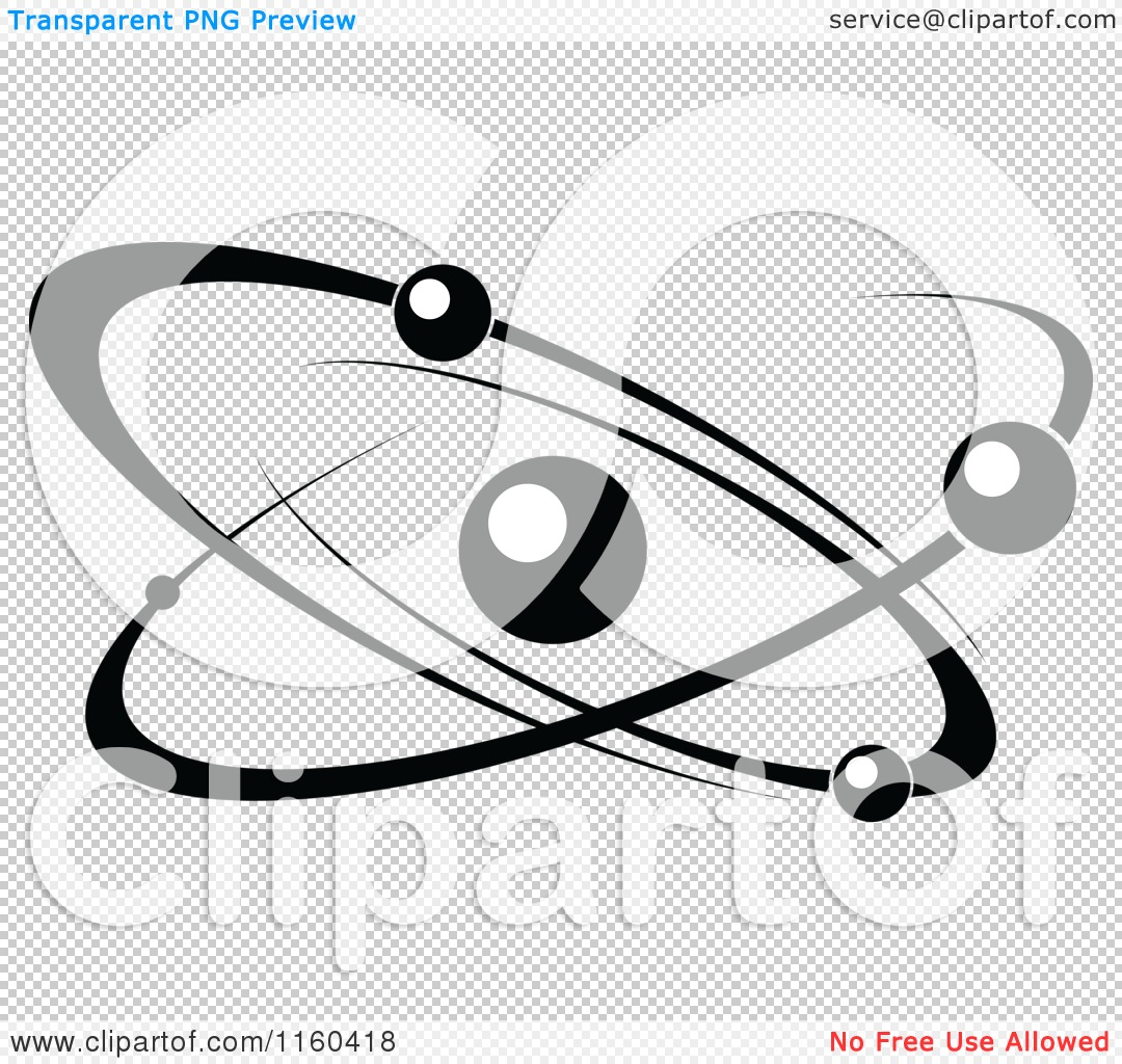 Clipart of a Black and White Atom 7 - Royalty Free Vector ...