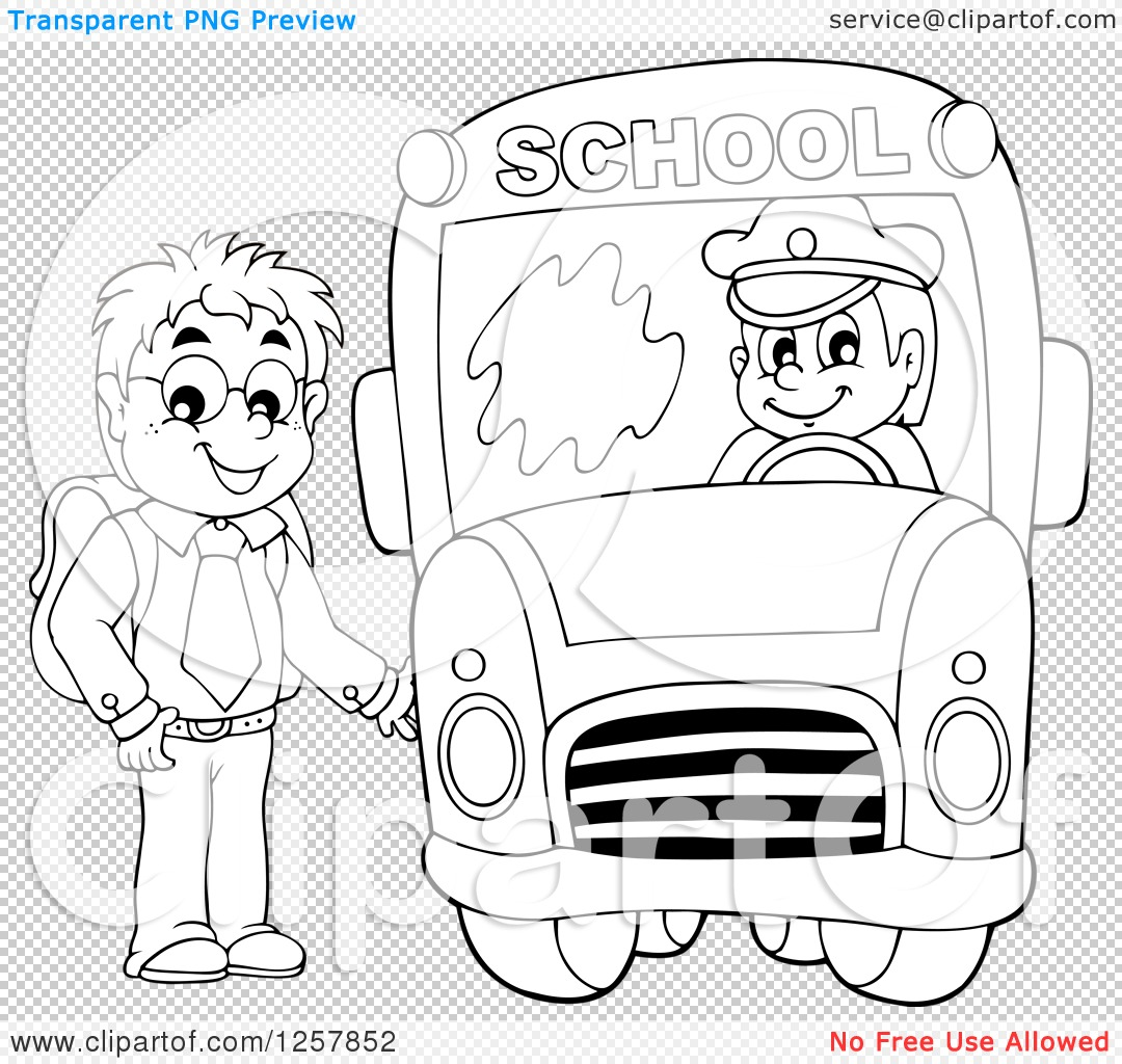 Clipart of a black and white boy boarding a school bus royalty png file has a transparent background voltagebd Choice Image