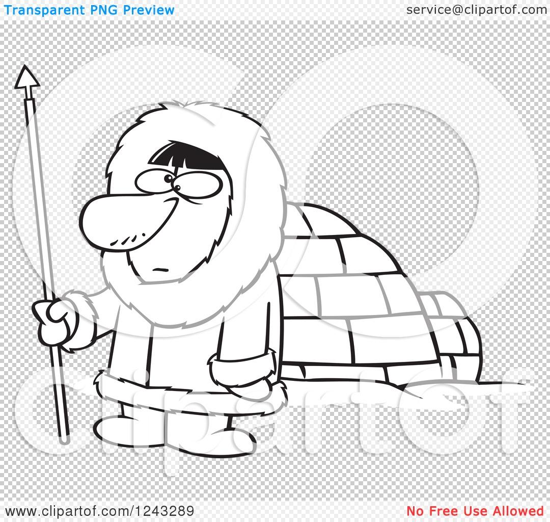 clipart of a black and white cartoon eskimo hunter man by an igloo