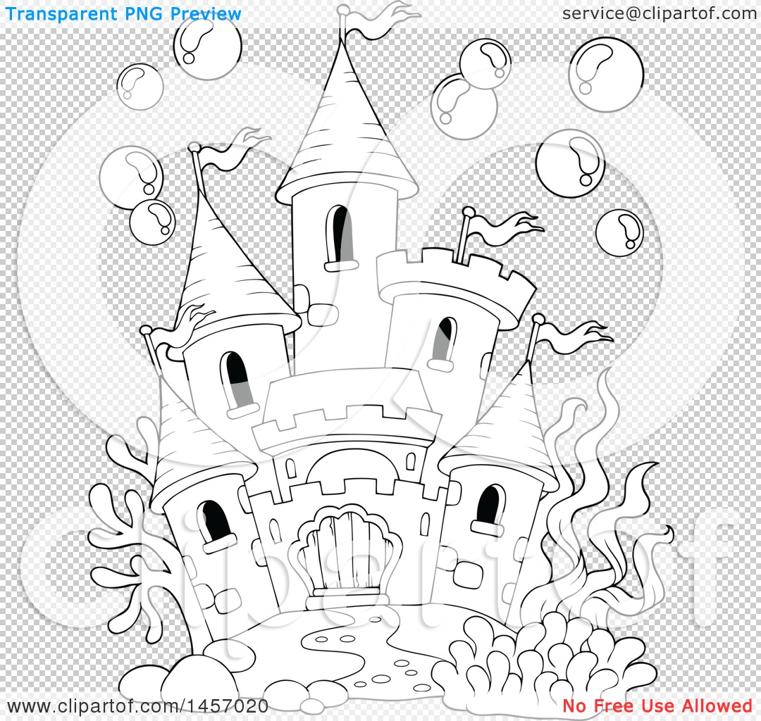 clipart of a black and white castle under the sea, or in a fish