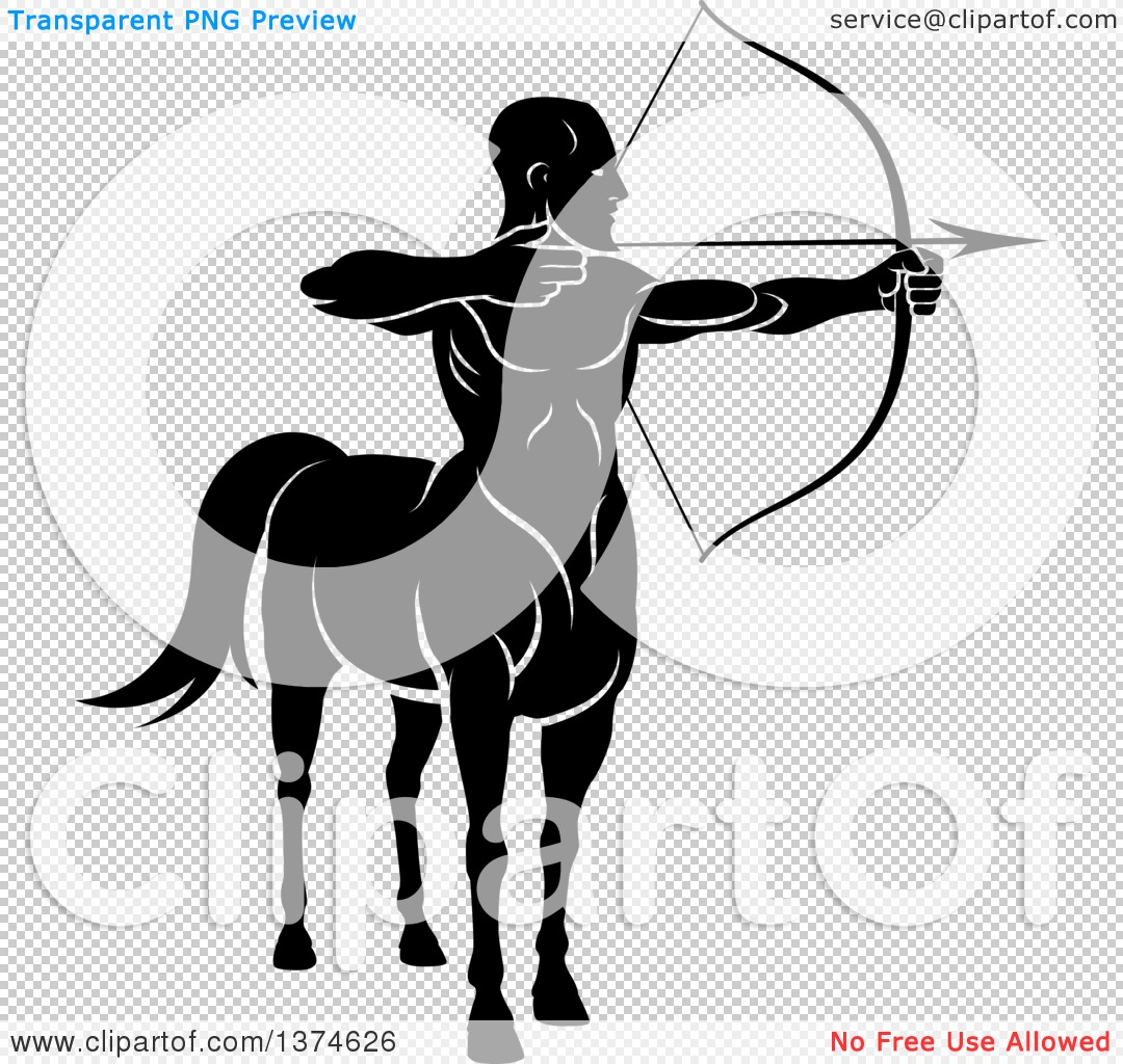 Clipart of a Black and White Centaur Archer Aiming to the Right ...