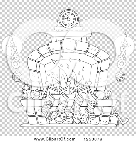 Clipart of a Black and White Christmas Fireplace with ...