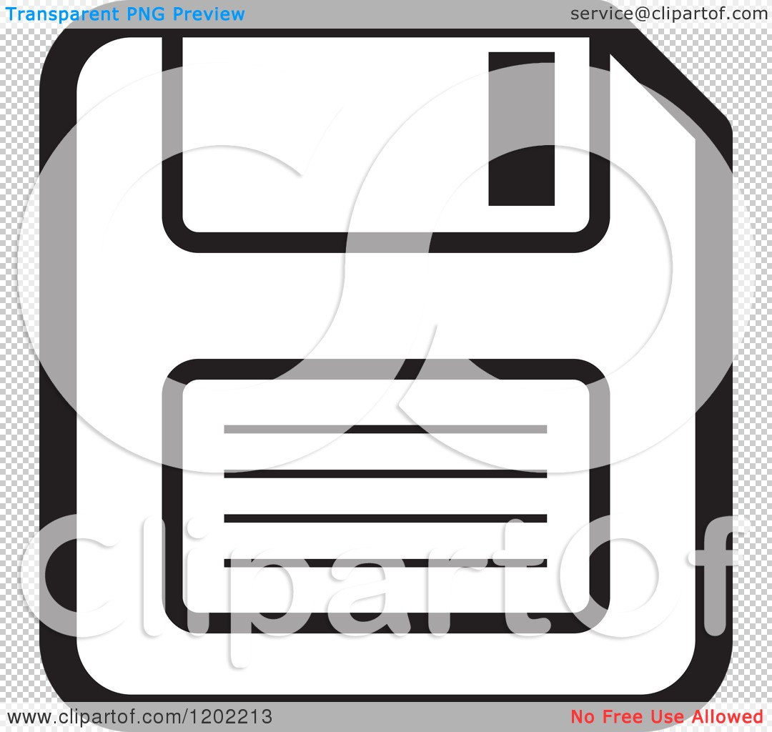 Clipart of a Black and White Computer Floppy Disk Icon - Royalty ...
