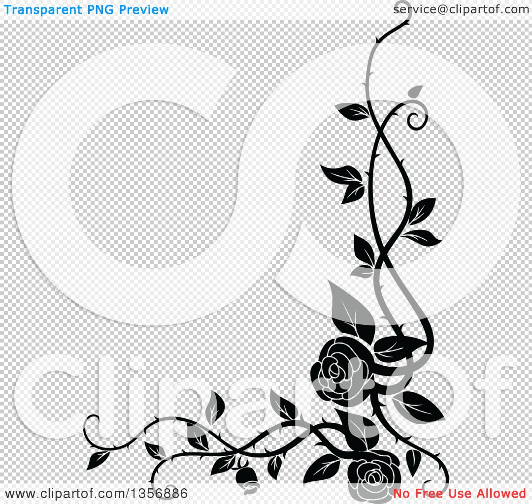 Clipart of a Black and White Corner Floral Rose Vine Border Design ...