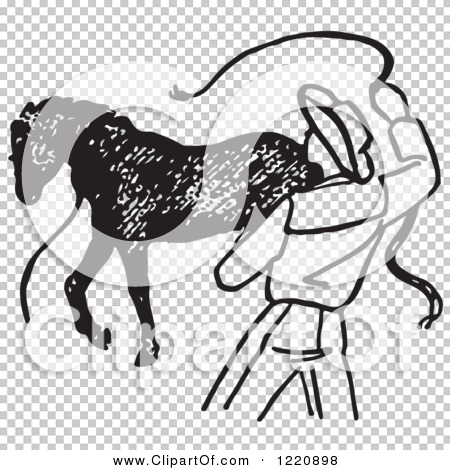 Clipart of a Black and White Cowboy Training a Horse 2 - Royalty ...