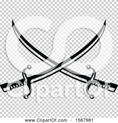 Clipart of a Black and White Design of Crossed Swords