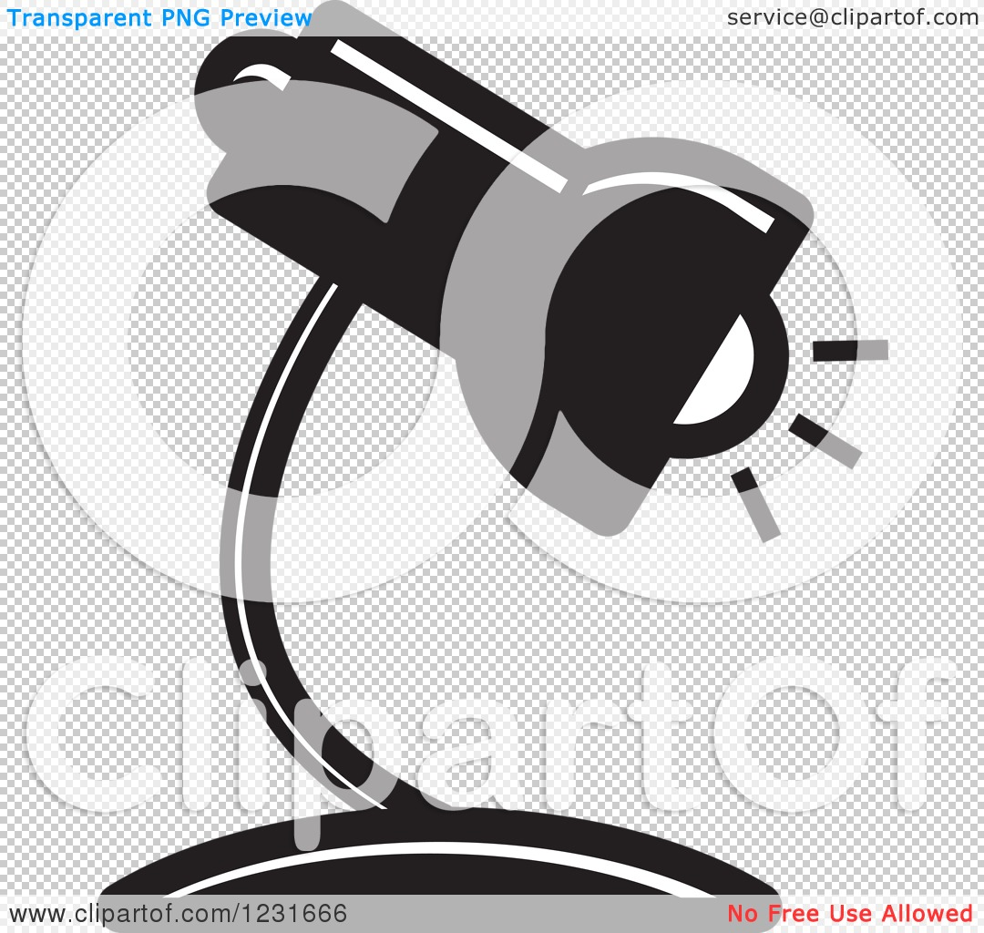 Royalty Free Desk Lamp Clip Art Vector Images: Clipart Of A Black And White Desk Lamp Icon