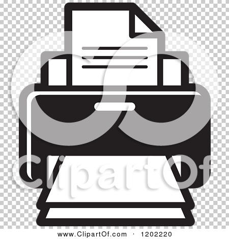 Clipart of a Black and White Desktop Computer Printer Icon ...