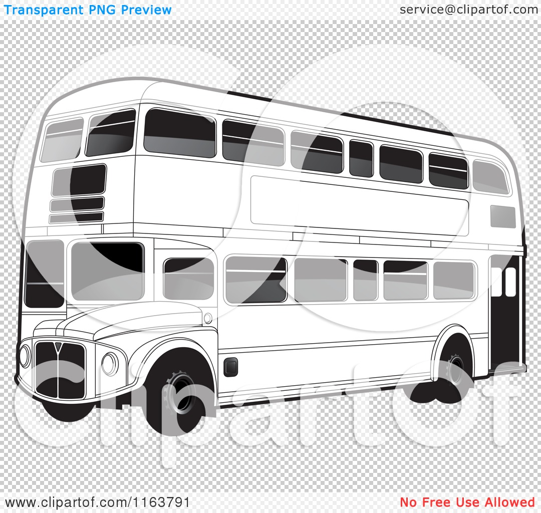 Clipart of a Black and White Double Decker Bus with Tinted ...