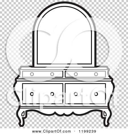 clipart of a black and white dresser and mirror royalty free vector illustration by lal perera. Black Bedroom Furniture Sets. Home Design Ideas